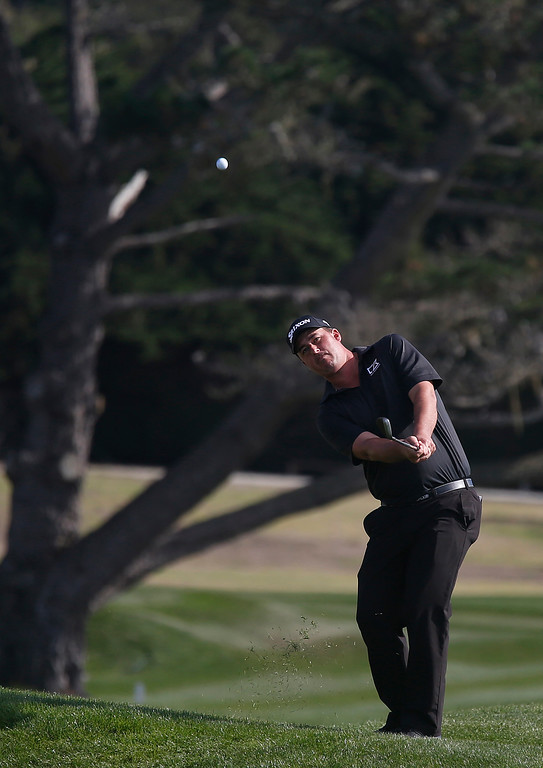 . Michael Putnam hits his ball from the edge of a trap on the 13th fairway during the final round of the TaylorMade Pebble Beach Invitational golf tournament at Pebble Beach Golf Links on Sunday November 19, 2017. (David Royal/Herald Correspondent)