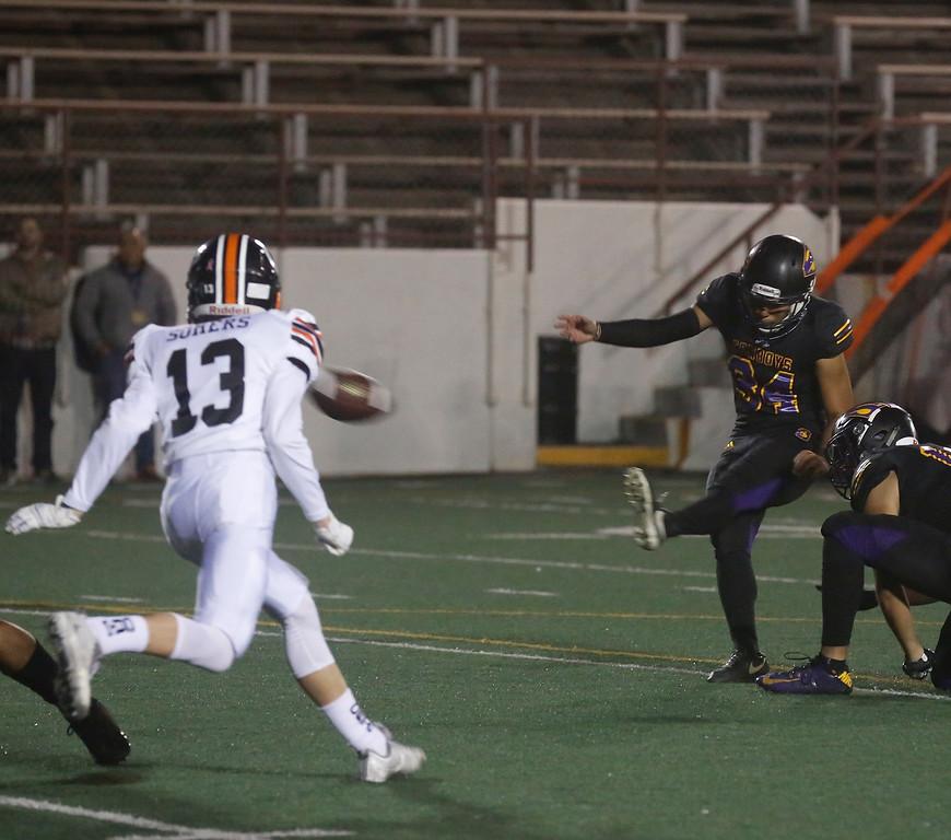 . Salinas\'s Adrian Hernandez kicks an extra point against Los Gatos during CCS playoff football at Salinas High School on Friday November 24, 2017. (David Royal/Herald Correspondent)