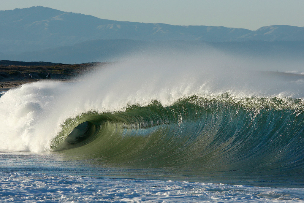 . Large waves break on the south side of the Moss Landing Harbor on Thursday, Nov. 30, 2017.  (Vern Fisher - Monterey Herald)