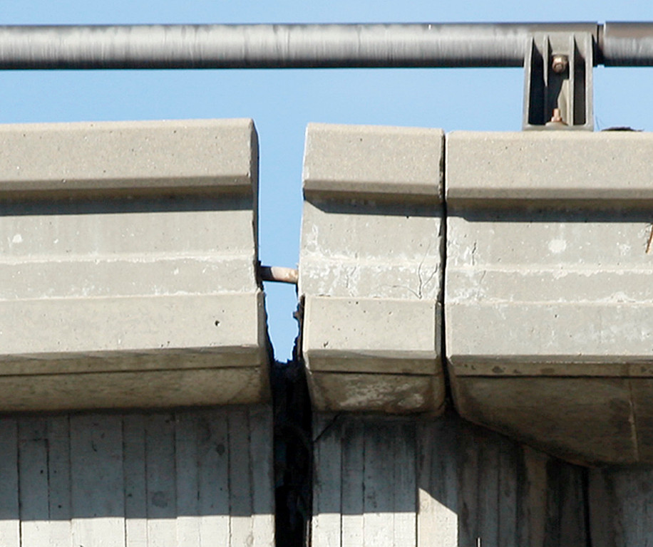 . The north bound lanes of the Highway One overpass over California Avenue in Seaside is showing signs of separation on Thursday, Nov. 30, 2017.  (Vern Fisher - Monterey Herald)