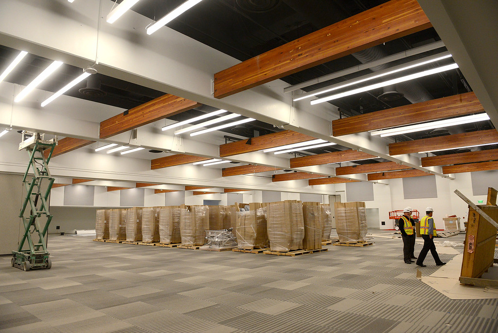 . A thousand chairs in the main ballroom as construction contiunes on the Monterey Conference Center $60 Million renovation project on Tuesday, Nov. 28, 2017. The project will make 40,000+ square feet of Center meeting space with a 3,200 person total capacity once completed hopefully sometime soon.  (Vern Fisher - Monterey Herald)