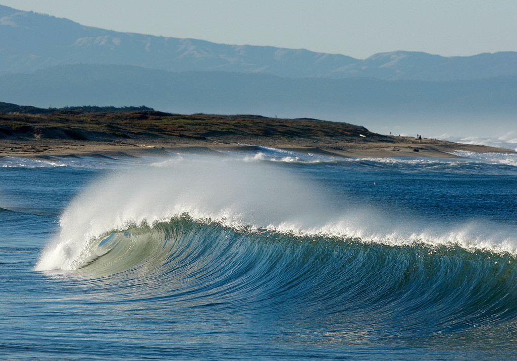 . Large waves break on the south side of the Moss Landing Harbor on Thursday, Nov. 30, 2017.  (Vern Fisher - Monterey Herald)