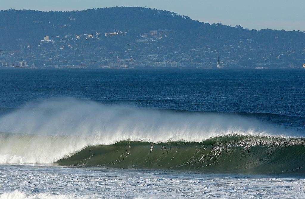 . Large waves break off Marina State Beach on Thursday, Nov. 30, 2017.  (Vern Fisher - Monterey Herald)