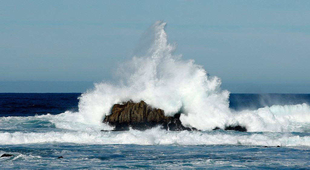 . Large surf crashes on the rocks at Point Pinos in Pacific Grove on Wednesday, Nov. 29, 2017.   (Vern Fisher - Monterey Herald)