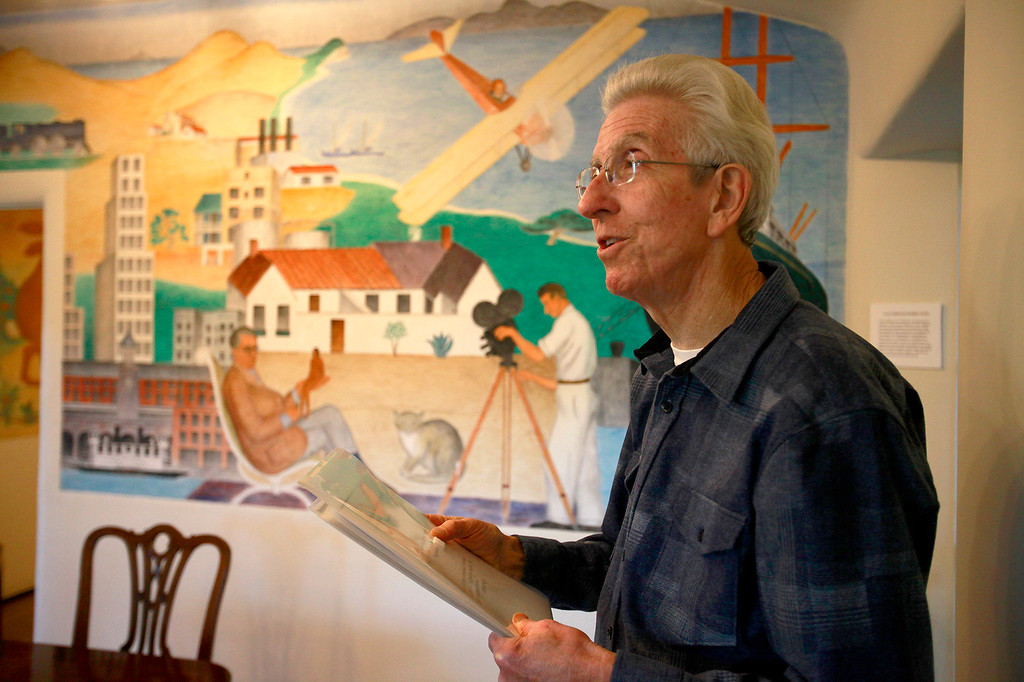 """. John Greenwald in front of a fresco painting at La Mirada created by Lord Hastings and Clifford Wright, assistants to Diego Rivera in Monterey on Tuesday, Nov. 29, 2016.  The discovery of original frescos and letters at La Mirada help tell the story of the pioneering Ruth Wightman Morris who is the subject of Monterey author John Greenwald\'s  book \""""Wild Bird\"""".  (Vern Fisher - Monterey Herald)"""