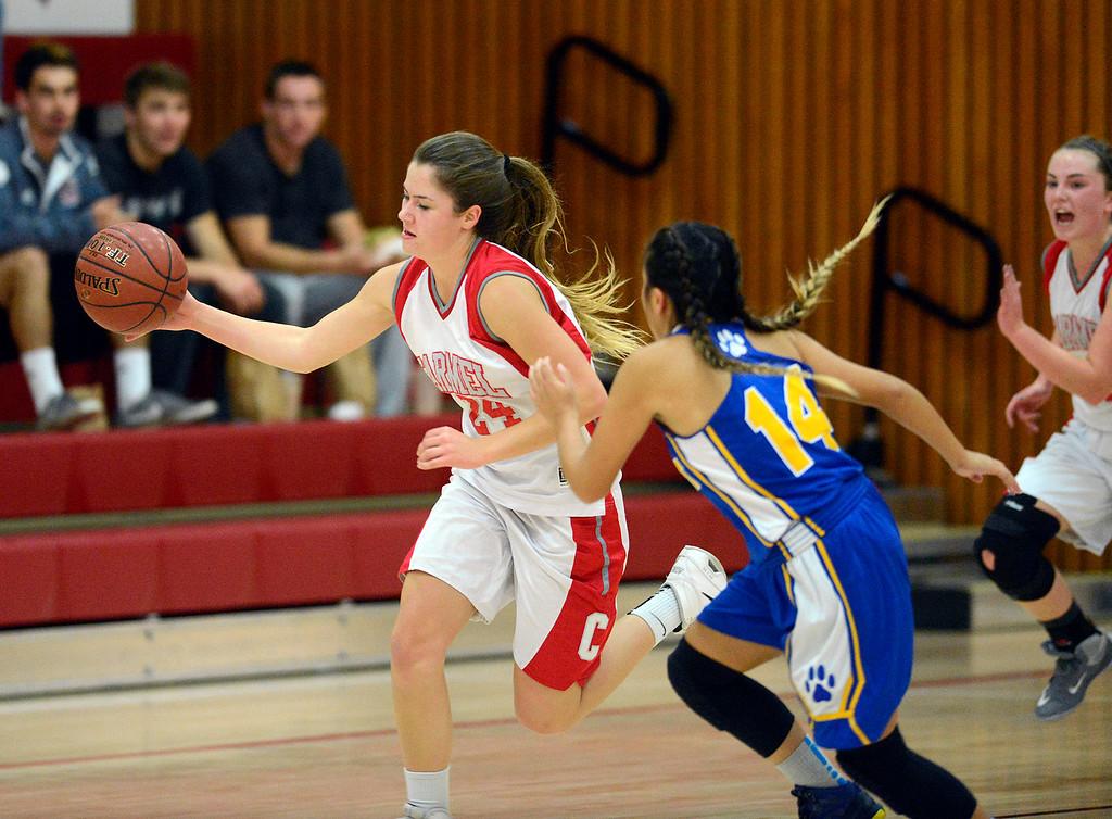 . Carmel\'s Jessica DiLullo breaks away against Prospect during girls basketball in Carmel on Wednesday November 30, 2016. (David Royal - Monterey Herald)