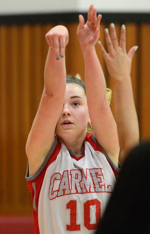 . Carmel\'s Katelyn Godon tracks a shot against Prospect during girls basketball in Carmel on Wednesday November 30, 2016. (David Royal - Monterey Herald)