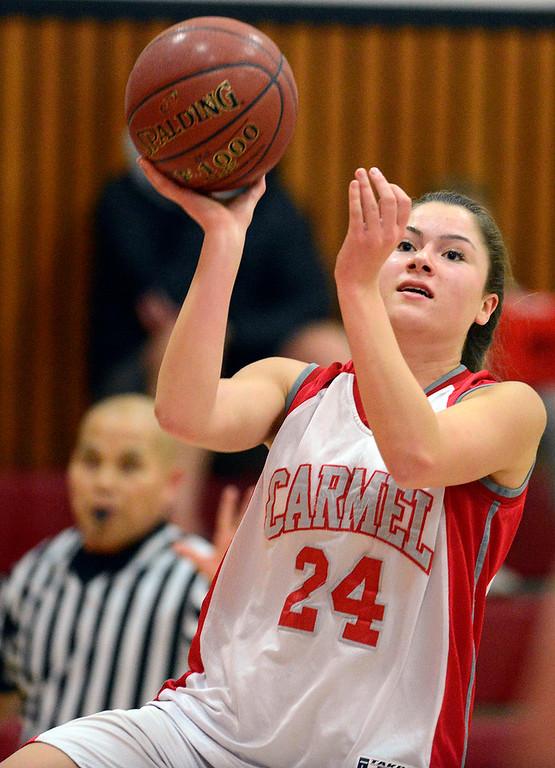 . Carmel\'s Jessica DiLullo shoots against Prospect during girls basketball in Carmel on Wednesday November 30, 2016. (David Royal - Monterey Herald)