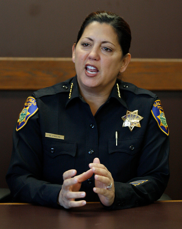 . New Salinas Police Chief Adele Frese in her office on Thursday, Dec. 1, 2016.  (Vern Fisher - Monterey Herald)