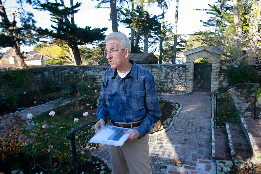 """. John Greenwald in the rose garden at La Mirada in Monterey on Tuesday, Nov. 29, 2016.  The discovery of original frescos and letters at La Mirada help tell the story of the pioneering Ruth Wightman Morris who is the subject of Monterey author John Greenwald\'s  book \""""Wild Bird\"""".  (Vern Fisher - Monterey Herald)"""