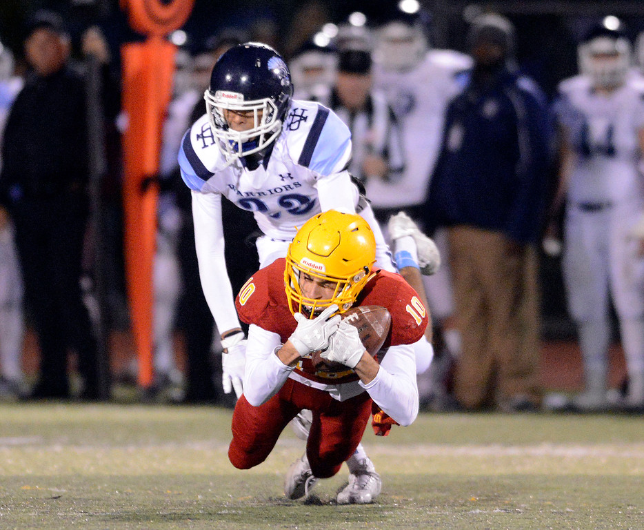 . Palma\'s Isaiah Blanco reels in a pass against Valley Christian during the CCS Open Division III championship football game at Oak Grove High School in San Jose on Friday November 25, 2016. (David Royal - Monterey Herald)