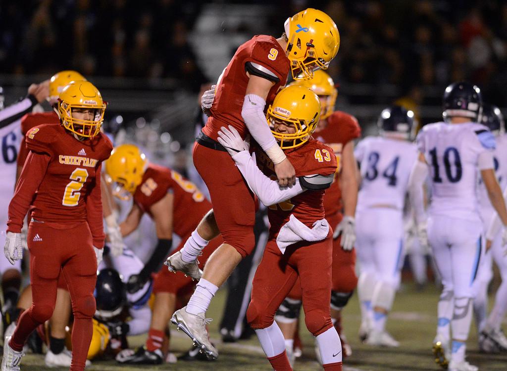 . Palma\'s Tristan Wahl, left and Michael Zaragoza react after their team recovered a fumble by Valley Christian during the CCS Open Division III championship football game at Oak Grove High School in San Jose on Friday November 25, 2016. (David Royal - Monterey Herald)