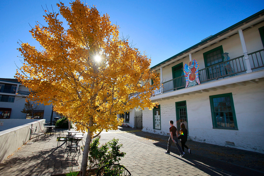 . A sunny cool Fall day at the Custom House Plaza in Monterey on Tuesday, Nov. 29, 2016.  (Vern Fisher - Monterey Herald)