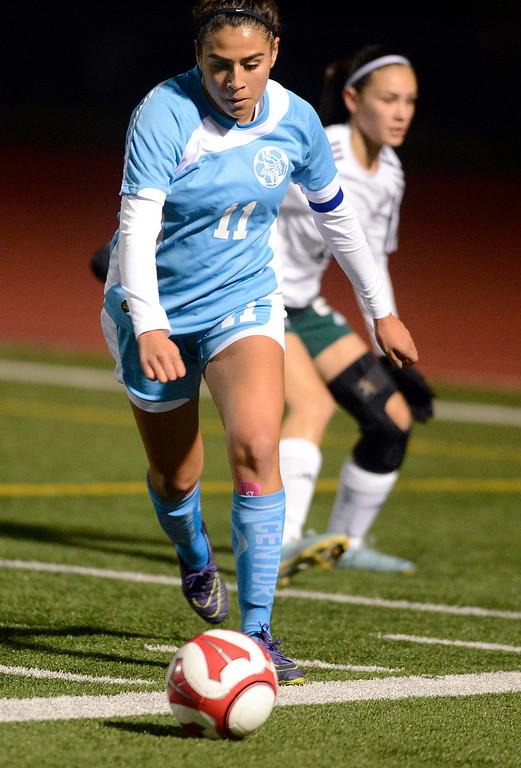 . North Salinas\' Samantha Vargas moves the ball upfield during girls soccer at Alisal High School in Salinas on Thursday December 1, 2016. (David Royal - Monterey Herald)