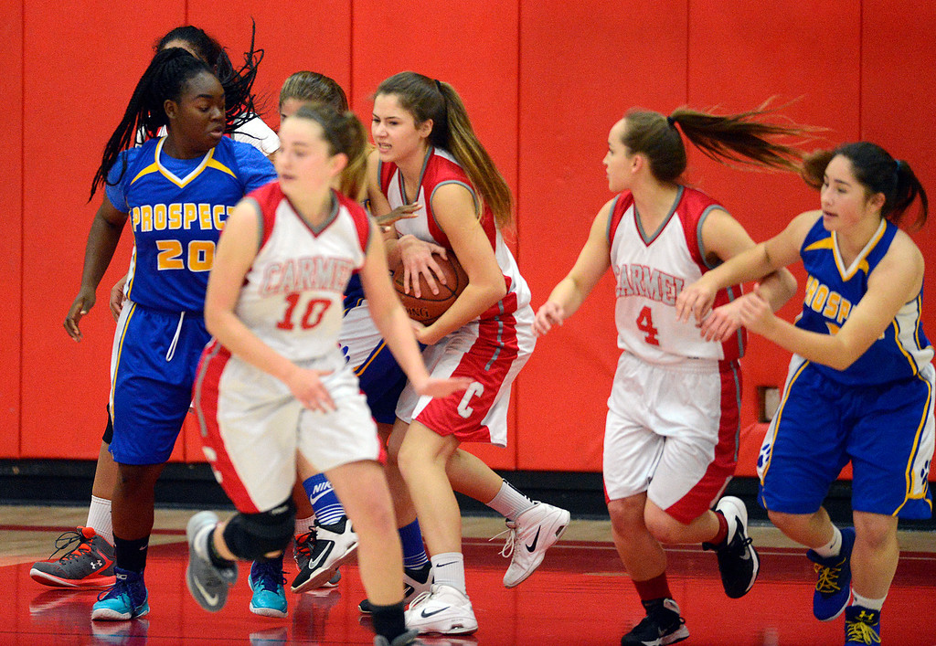 . Carmel\'s Jessica DiLullo nabs a rebound against Prospect during girls basketball in Carmel on Wednesday November 30, 2016. (David Royal - Monterey Herald)