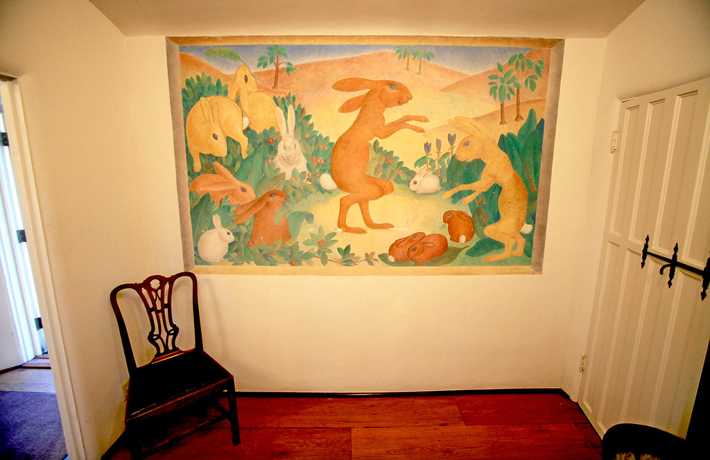 """. A fresco painting at La Mirada in Monterey on Tuesday, Nov. 29, 2016.  The discovery of original frescos and letters at La Mirada help tell the story of the pioneering Ruth Wightman Morris who is the subject of Monterey author John Greenwald\'s  book \""""Wild Bird\"""".  (Vern Fisher - Monterey Herald)"""