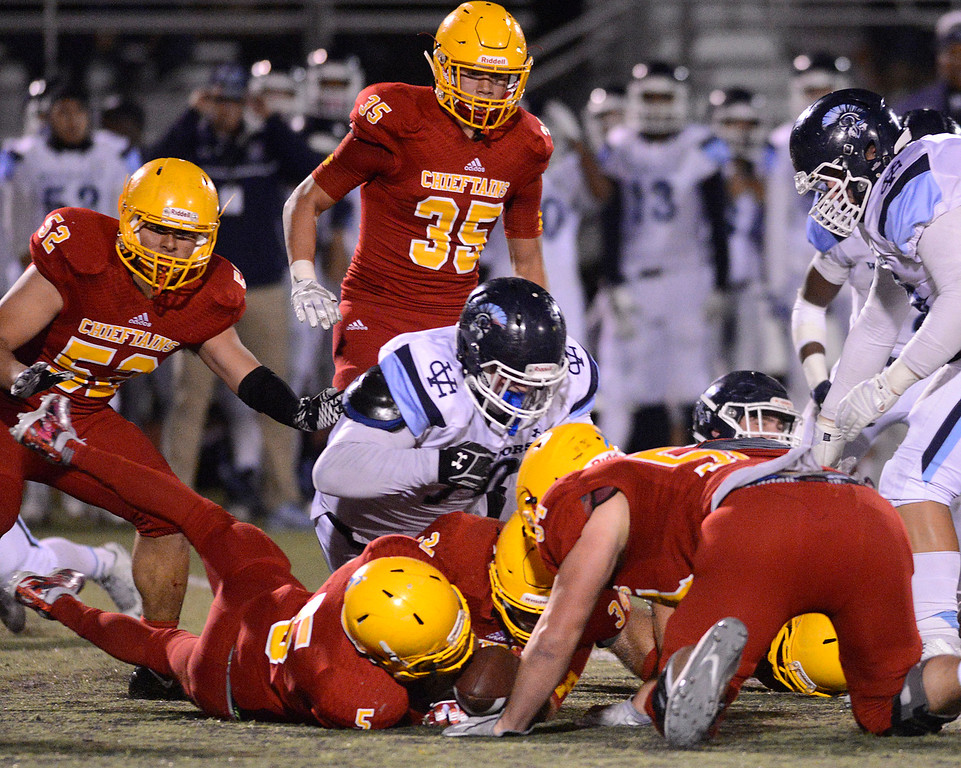 . Palma recovers a fumble by Valley Christian during the CCS Open Division III championship football game at Oak Grove High School in San Jose on Friday November 25, 2016. (David Royal - Monterey Herald)