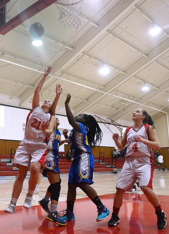 . Carmel\'s Ashlyn Davis shoots against Prospect during girls basketball in Carmel on Wednesday November 30, 2016. (David Royal - Monterey Herald)