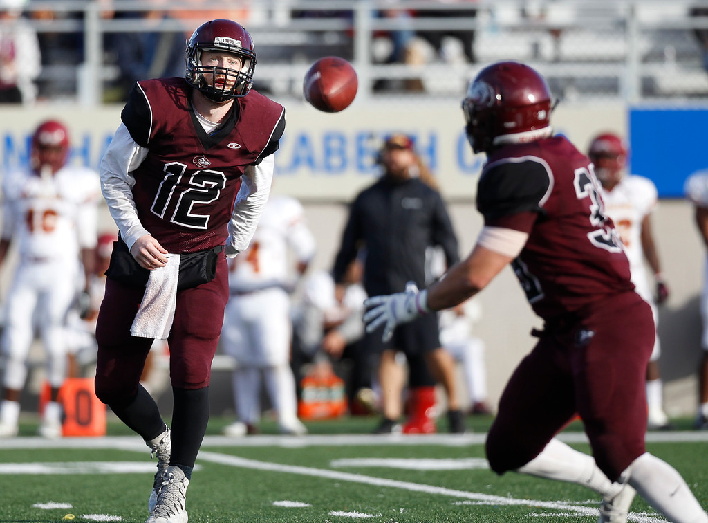 . MPC\'s Kody Steele pitches the ball to Jacob Collins during the Living Breath Foundation Bowl against Los Medanos at Rabobank Stadium on Saturday, Nov. 26, 2016 in Salinas, Calif. (Vernon McKnight/Herald Correspondent)