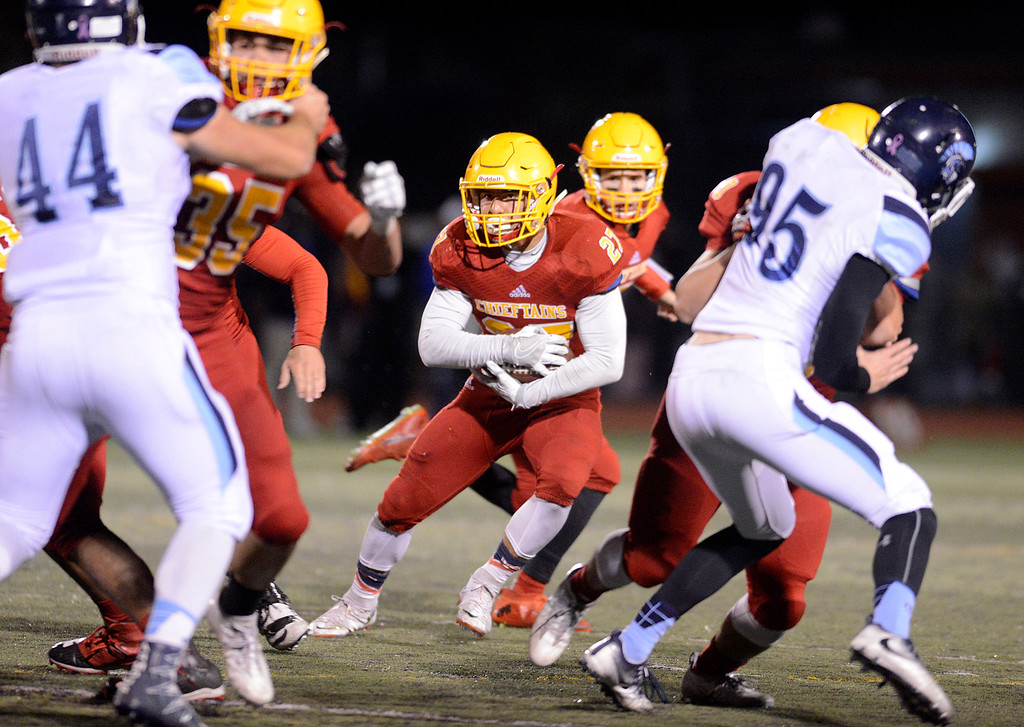 . Palma\'s Emilio Lopez runs the ball against Valley Christian during the CCS Open Division III championship football game at Oak Grove High School in San Jose on Friday November 25, 2016. (David Royal - Monterey Herald)