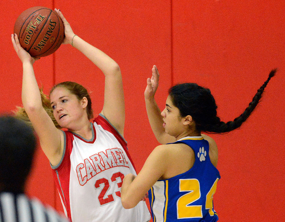. Carmel\'s Jessica Pavloff reels looks for an opening against Prospect\'s Riley Beers  during girls basketball in Carmel on Wednesday November 30, 2016. (David Royal - Monterey Herald)