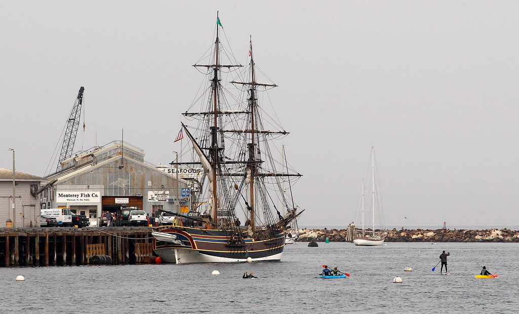 . The tall ship Lady Washington tied at Wharf No. 2 in Monterey for some general maintenance on Tuesday, November 13, 2018.  (Vern Fisher - Monterey Herald)