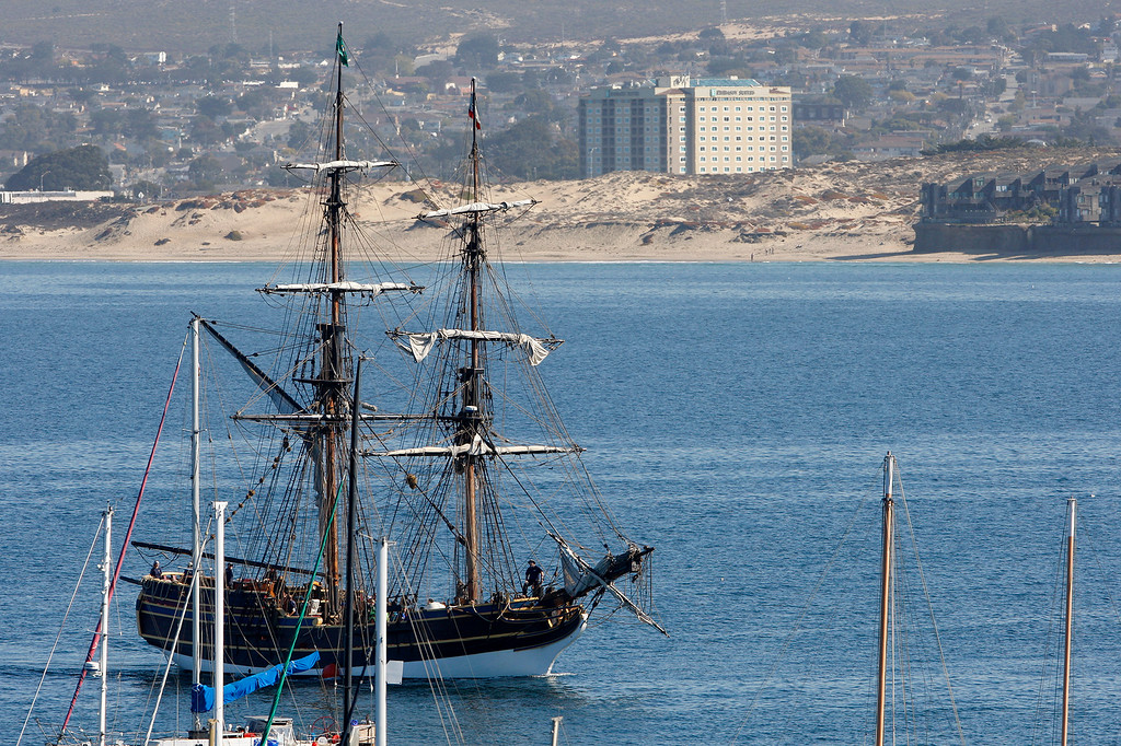 . The tall ship Lady Washington sails into the Monterey Harbor on Friday, November 9, 2018 for an extended stay.  (Vern Fisher - Monterey Herald)