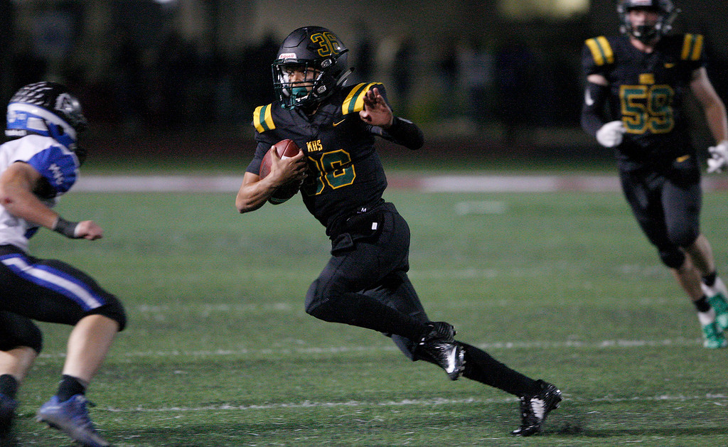 . Monterey High School\'s Josh Elmore (36) runs for yards in the first half of their CCS DV playoff game against Monte Vista Christian at Monterey Peninsula College in Monterey on Friday, November 9, 2018.  (Vern Fisher - Monterey Herald)