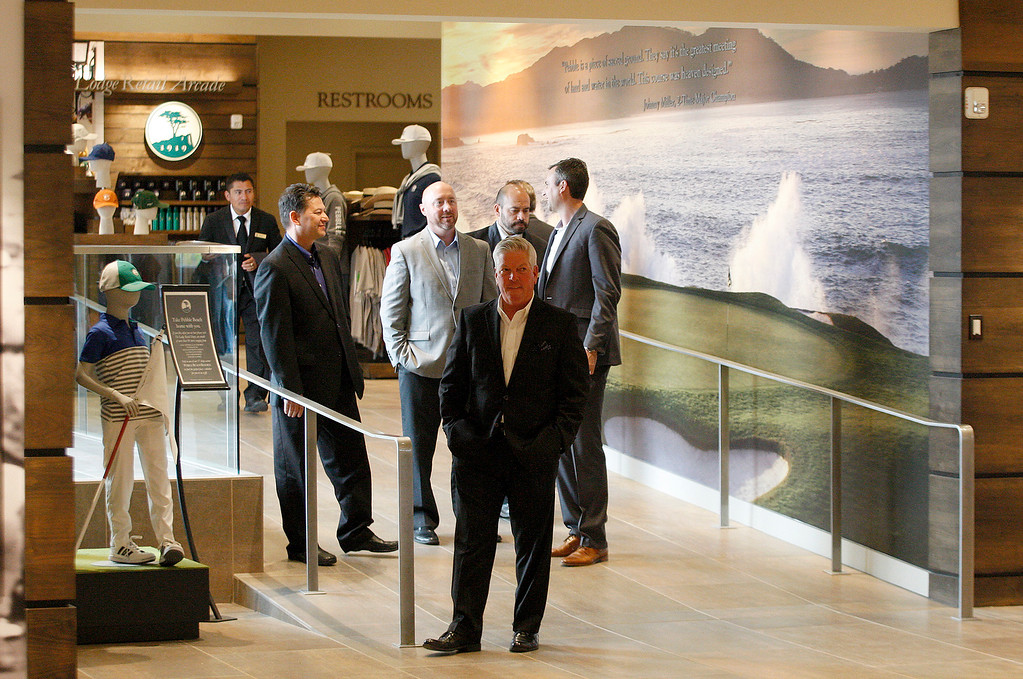 . People attend the grand opening of the Pebble Beach Visitor Center on Tuesday, November 13, 2018.  (Vern Fisher - Monterey Herald)