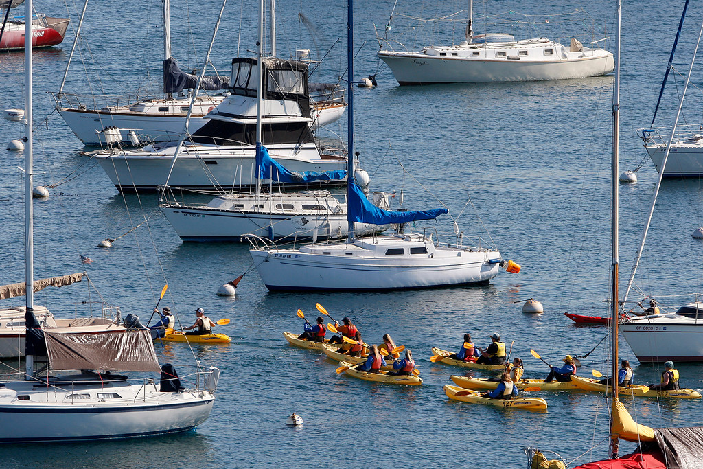 . Kayakers paddle through the Monterey Harbor on Friday, November 9, 2018.  (Vern Fisher - Monterey Herald)