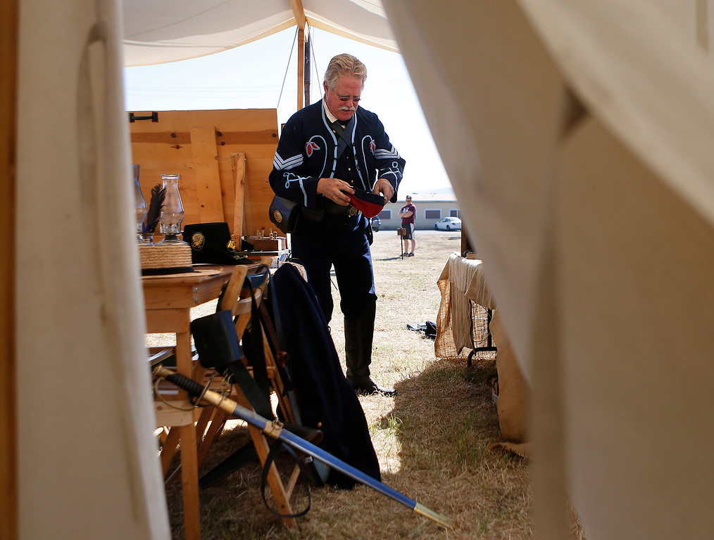 . Randy Hawkinson, dresses as  Union Sgt. Randall Wallace outside his tent at the Civil War encampment at the Lower Presidio Park in Monterey on Saturday October 14, 2017. The event was part of History Fest. (David Royal/Herald Correspondent)