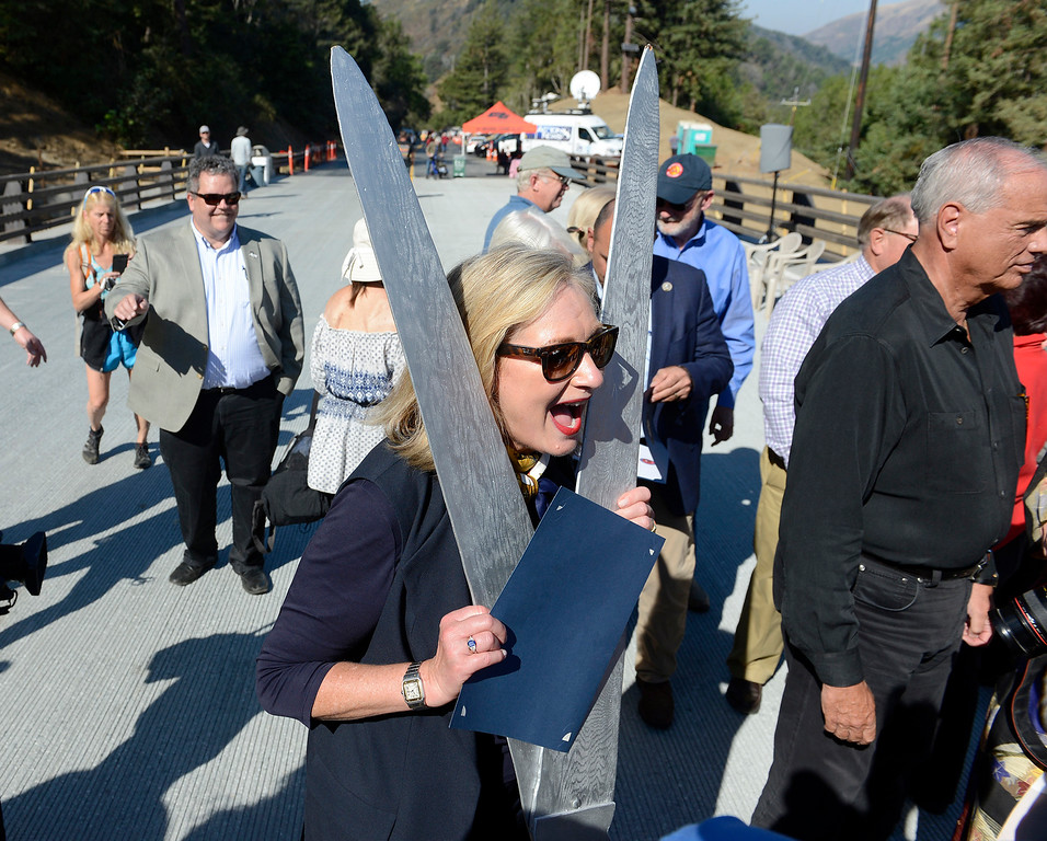 . Monterey County supervisor Mary Adams speaks to the Big Sur residents as they celebrate the opening of the Pfeiffer Canyon Bridge Highway One on Friday, Oct. 13, 2017 after eight months of construction and $24 million.   (Vern Fisher - Monterey Herald)