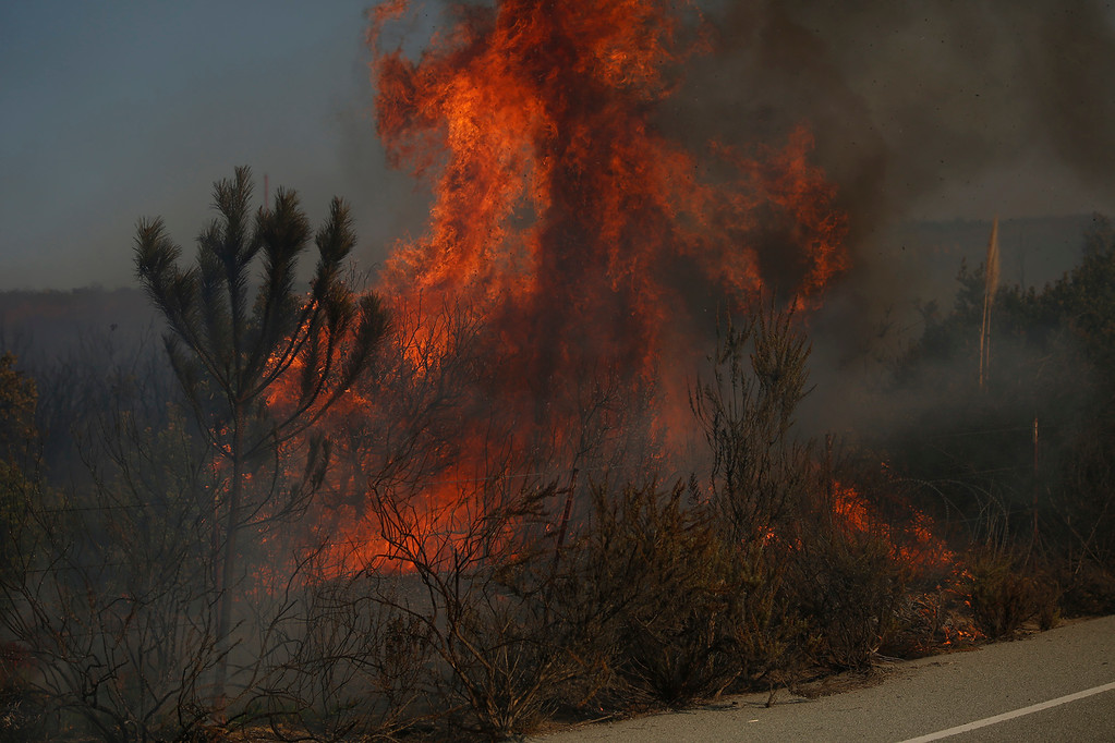. A wildland fire burns along South Boundary Road in Fort Ord near Ryan Ranch in Monterey on Sunday October 15, 2017. (David Royal/Herald Correspondent)