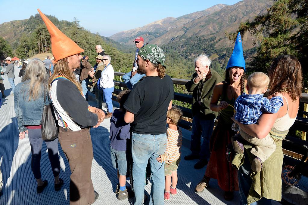 . Big Sur residents celebrate the opening of the Pfeiffer Canyon Bridge on Highway One in Big Sur on Friday, Oct. 13, 2017 after eight months of construction and $24 million.   (Vern Fisher - Monterey Herald)