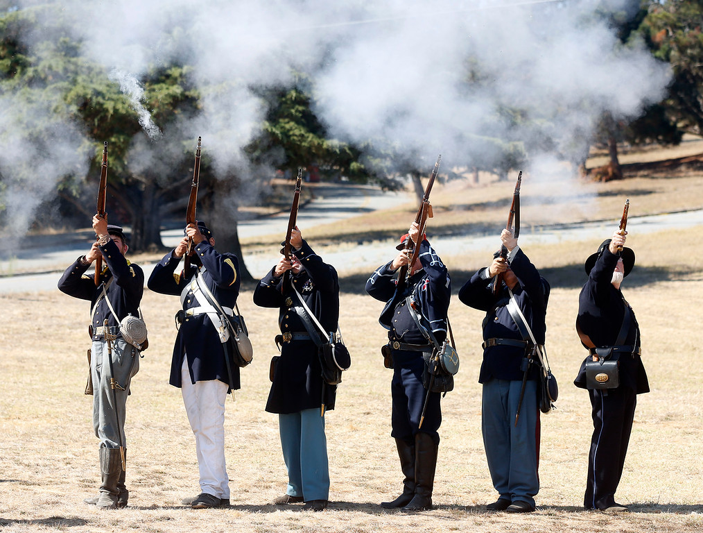 . Union troop\'s fire their weapons during a Civil War reenactment at their encampment at the Lower Presidio Park in Monterey on Saturday October 14, 2017. The event was part of History Fest. (David Royal/Herald Correspondent)