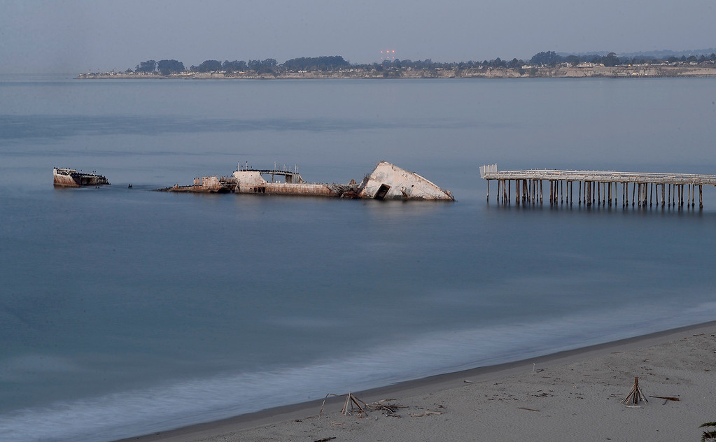 . The S.S. Palo Alto (cement ship) at Seacliff State Beach in Aptos on Tuesday, Oct. 17, 2017.  (Vern Fisher - Monterey Herald)
