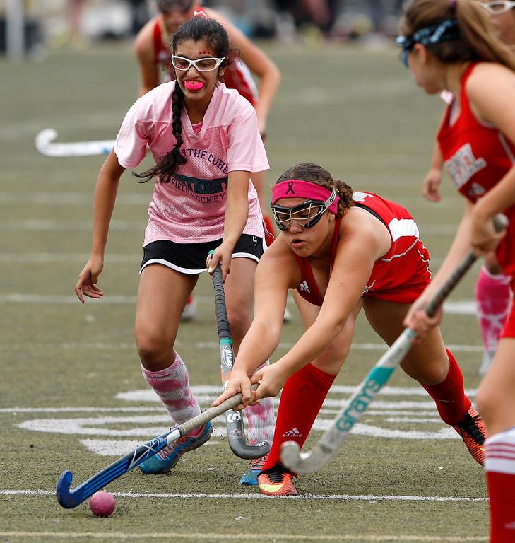 . Monterey\'s Sinai Nieto (41) battles Carmel\'s Chloe Prichard (19) during their match at Monterey High on Tuesday, Oct. 17, 2017.  (Vern Fisher - Monterey Herald)