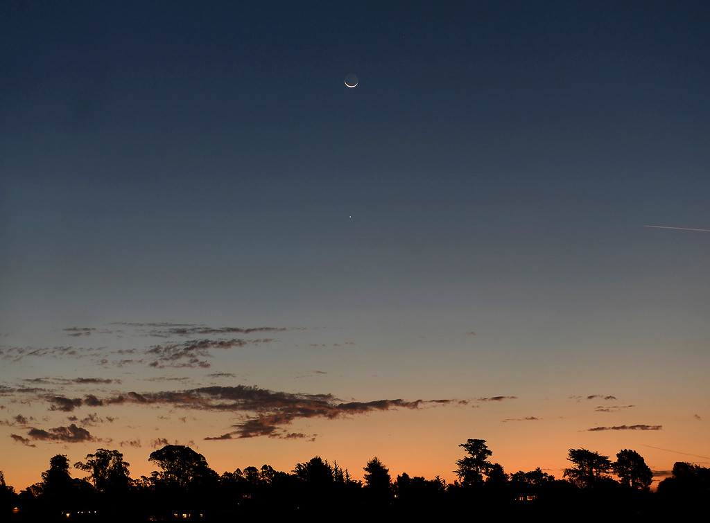. Waning Crescent moon over Aptos on Tuesday, Oct. 17, 2017.  (Vern Fisher - Monterey Herald)