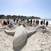 The entry titled, A Whale of a Time by contestants brothers Scott and Craig Comings, Rick Ruiz, Jeremy Locke, and Jeff Polmo is pictured before winning the Best Bribe award during the Great Sand Castle Contest of Carmel on Sunday, October 4, 2015 in Carmel by the Sea, Calif. (Vernon McKnight/Herald Correspondent)