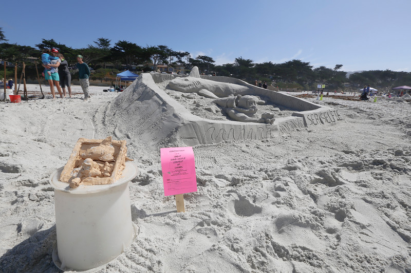 The entry titled, Undersea Selfie is pictured with a prototype in the foreground before winning the Sour Grapes award during the Great Sand Castle Contest of Carmel on Sunday, October 4, 2015 in Carmel by the Sea, Calif. (Vernon McKnight/Herald Correspondent)