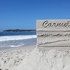 Todd Weaver's entry titled Carmel Postcard is designed to line up exactly with the trees in the background, the horizon, and the waves crashing onto the beach as shown during the Great Sand Castle Contest of Carmel on Sunday, October 4, 2015 in Carmel by the Sea, Calif. (Vernon McKnight/Herald Correspondent)