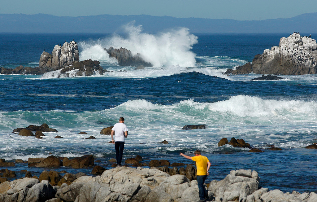. Large waves break at Point Pinos in Pacific Grove on Monday, Oct. 23, 2017.  (Vern Fisher - Monterey Herald)