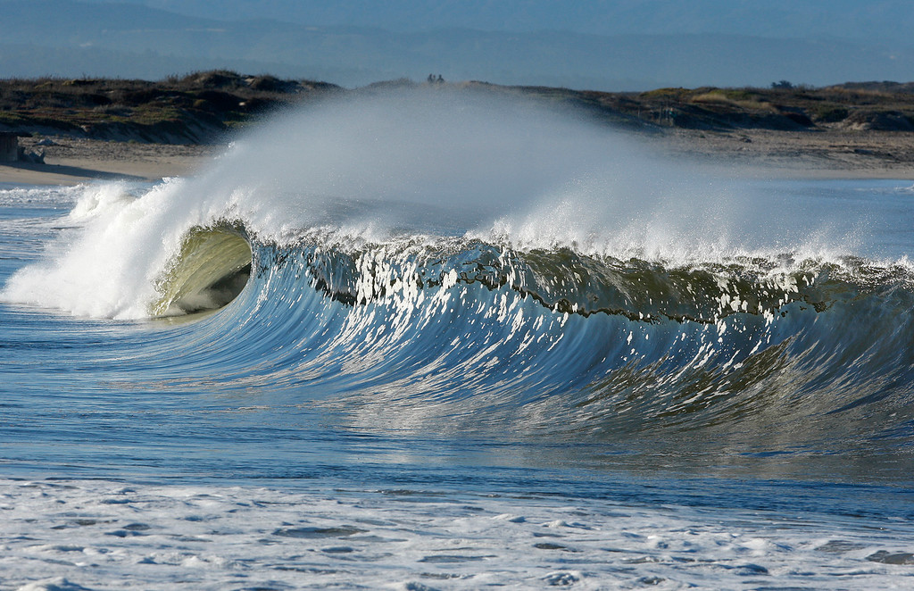 . Waves break on the south side of the Moss Landing Harbor in Monday, Oct. 23, 2017.  (Vern Fisher - Monterey Herald)