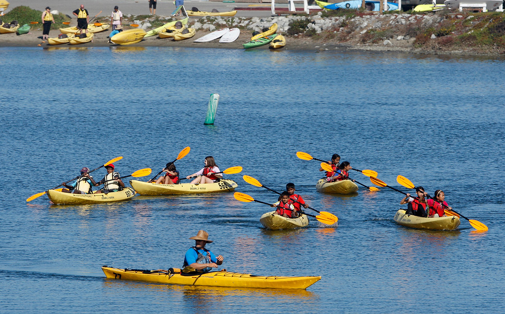 . People kayak in the Moss Landing Harbor on Wednesday, Oct. 25, 2017.  (Vern Fisher - Monterey Herald)