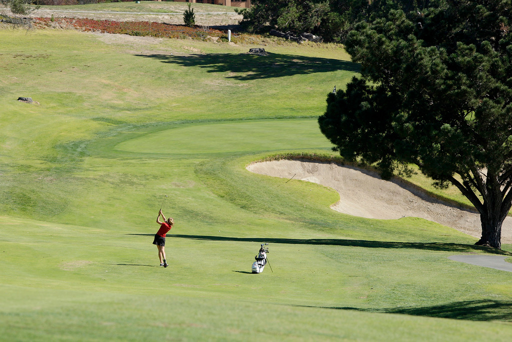 . Carmel High\'s Lauren Pritchard on the 10th hole during the MBL golf championships at Laguna Seca Golf Ranch in Monterey on Tuesday, Oct. 24, 2017.  (Vern Fisher - Monterey Herald)