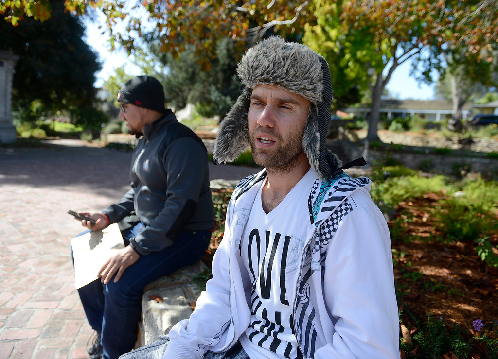 . Edgardo Pastora and Todd Sondgroth have been bringing awareness to the homeless issue while in Monterey on Friday, Oct. 20, 2017.  (Vern Fisher - Monterey Herald)
