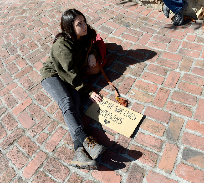 . Gloria Dorame is bringing awareness to the homeless issue while in Monterey on Friday, Oct. 20, 2017.  (Vern Fisher - Monterey Herald)