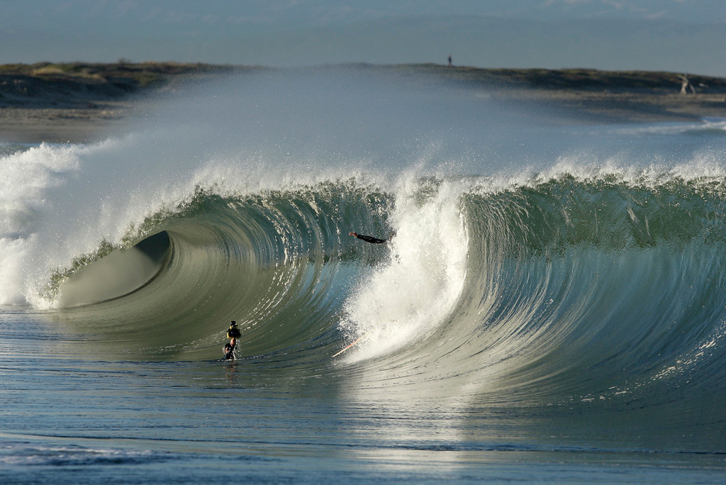 . Waves break on the south side of the Moss Landing Harbor on Tuesday, Oct. 24, 2017.  (Vern Fisher - Monterey Herald)