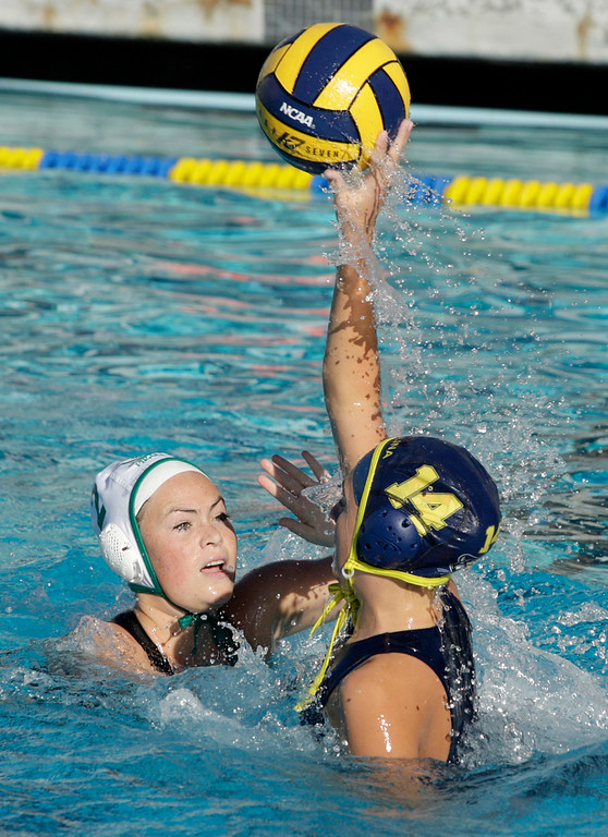 . Harbor\'s Grace Crowley (2) battles Santa Catalina\'s Emma Underdown (14) during their match in Monterey on Thursday, Oct. 26, 2017.  (Vern Fisher - Monterey Herald)