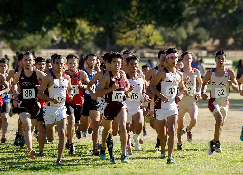 . Start of the mens Coast Conference Cross Country Finals race at Toro Park on Friday, Oct. 27, 2017.   (Vern Fisher - Monterey Herald)